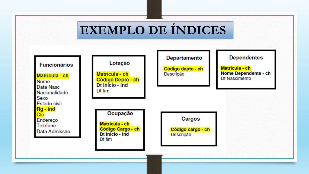 EXEMPLO DE ÍNDICES