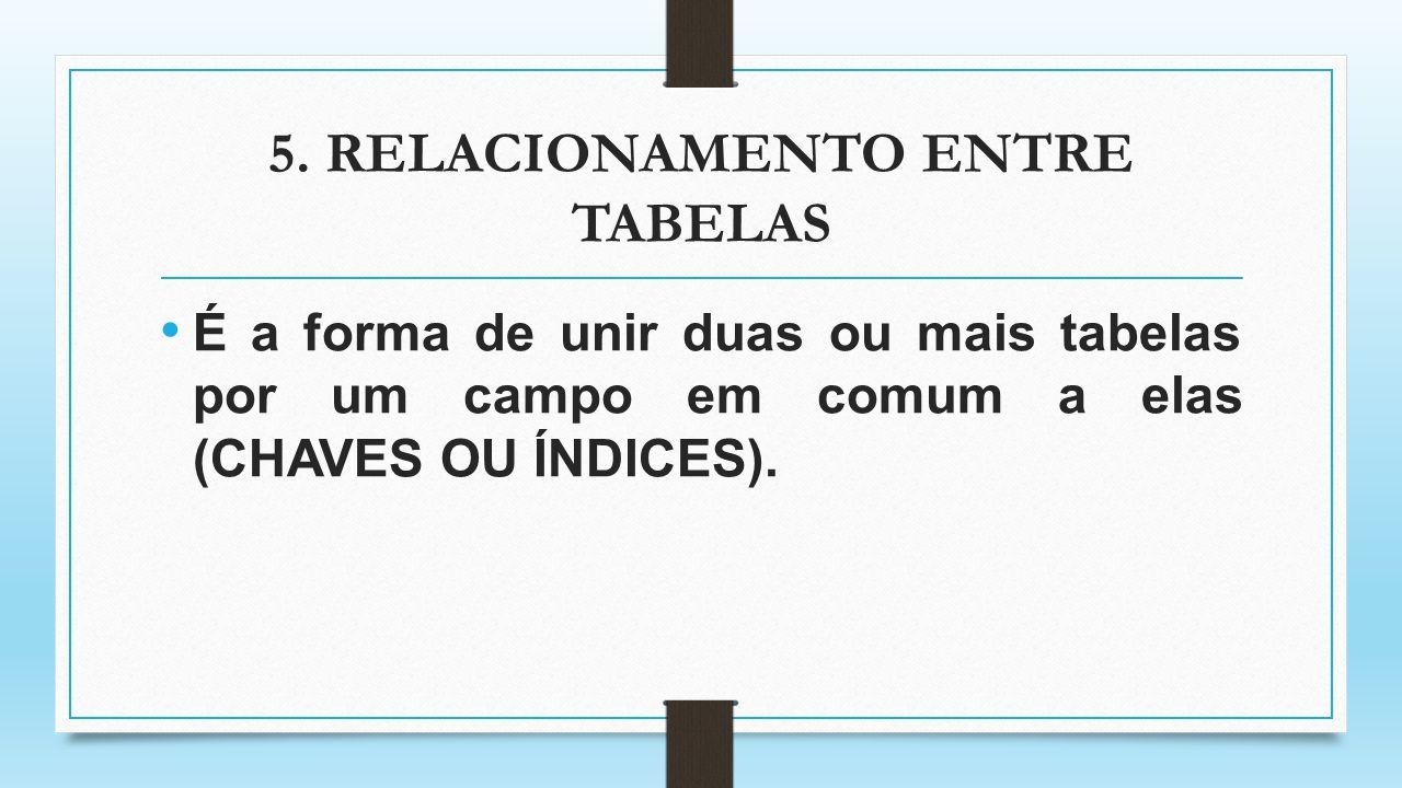 5. RELACIONAMENTO ENTRE TABELAS