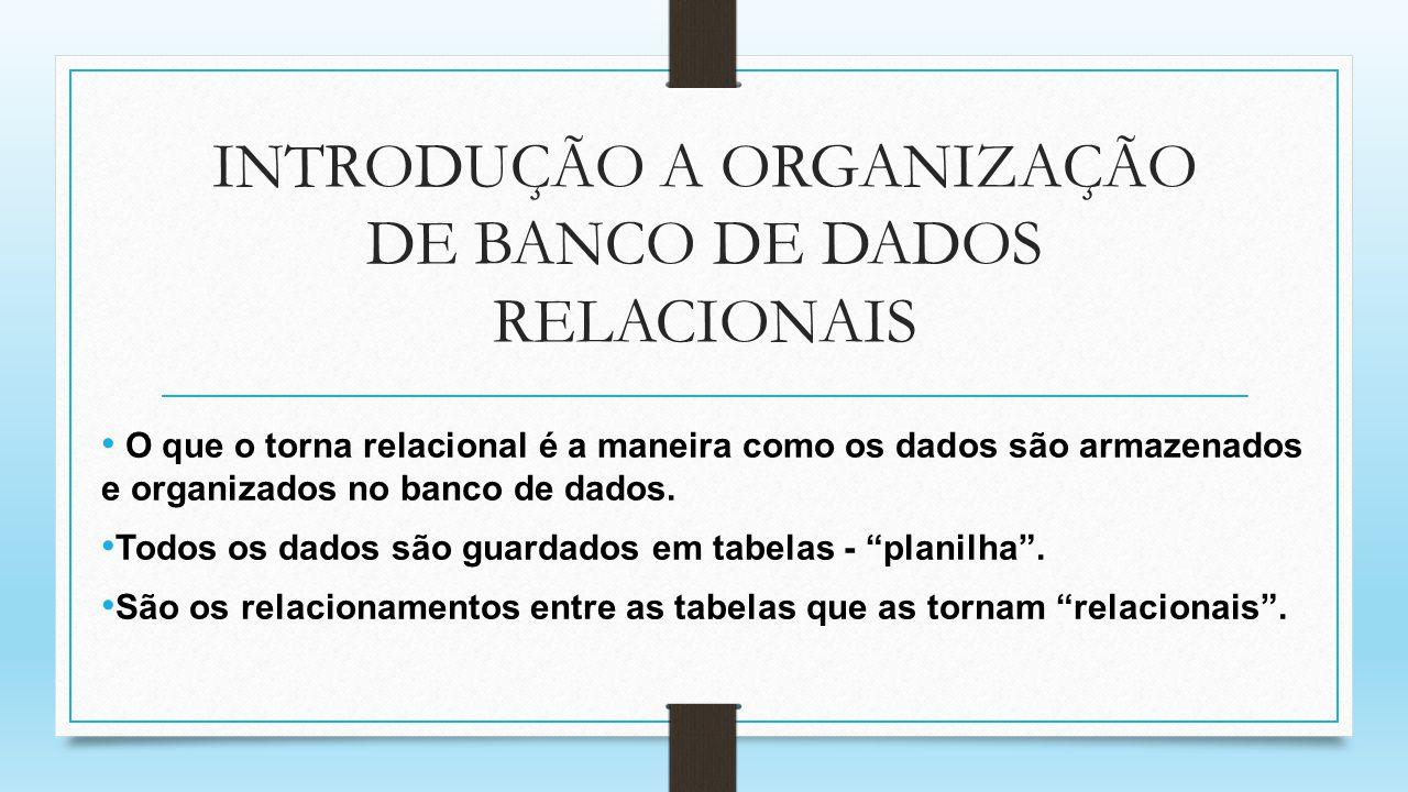 INTRODUÇÃO A ORGANIZAÇÃO DE BANCO DE DADOS RELACIONAIS