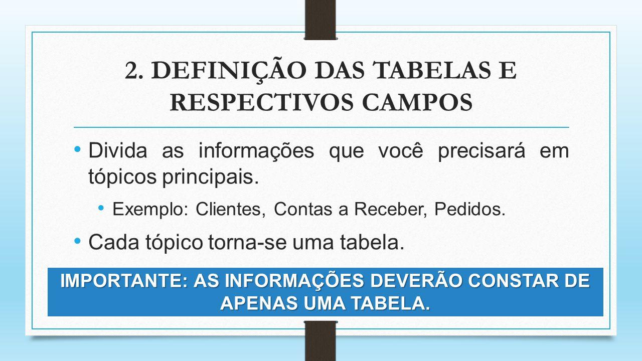 2. DEFINIÇÃO DAS TABELAS E RESPECTIVOS CAMPOS