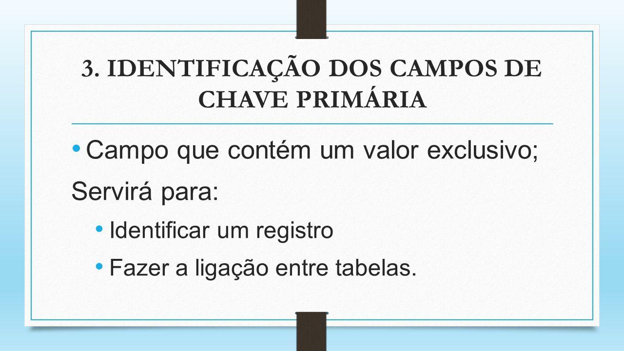 3. IDENTIFICAÇÃO DOS CAMPOS DE CHAVE PRIMÁRIA