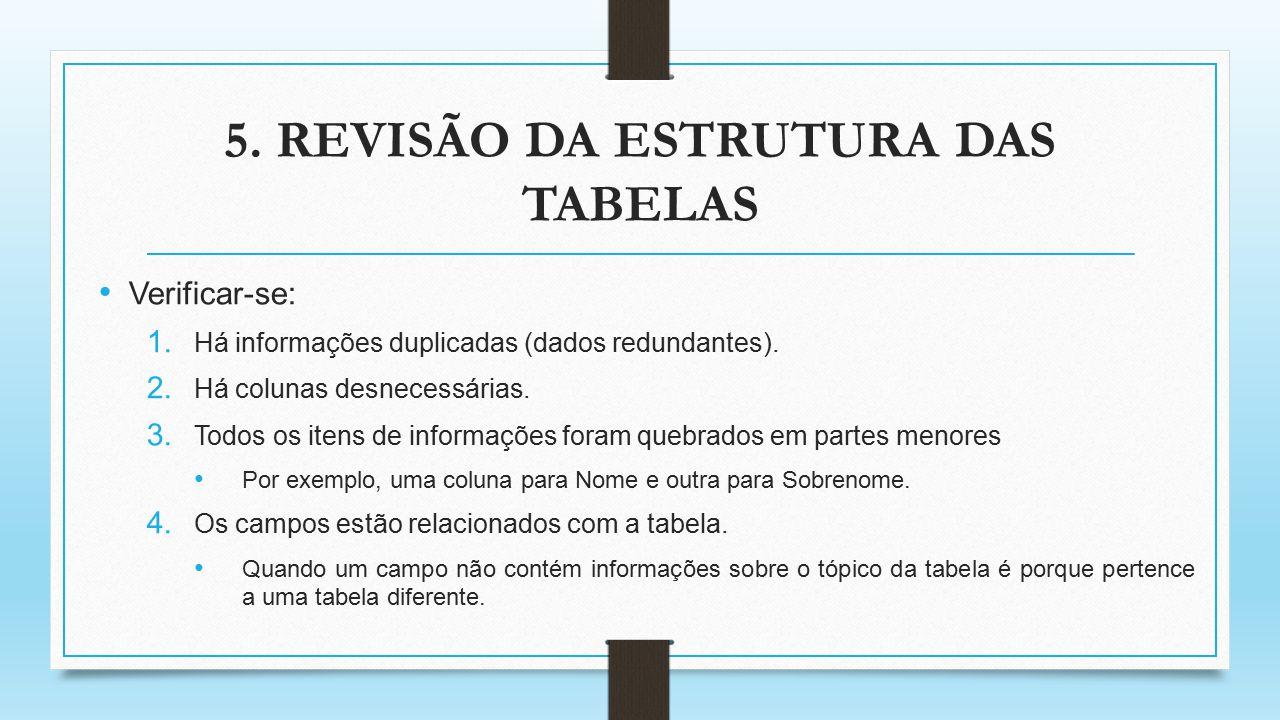 5. REVISÃO DA ESTRUTURA DAS TABELAS