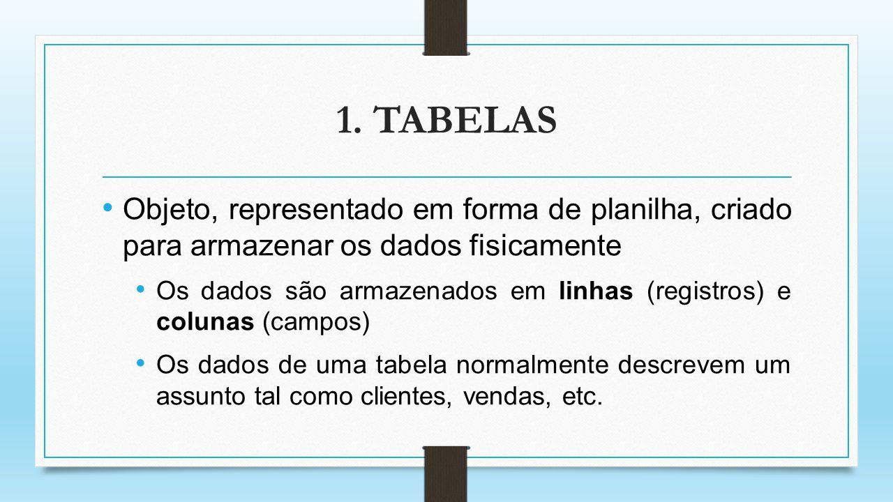 1. TABELAS Objeto, representado em forma de planilha, criado para armazenar os dados fisicamente.