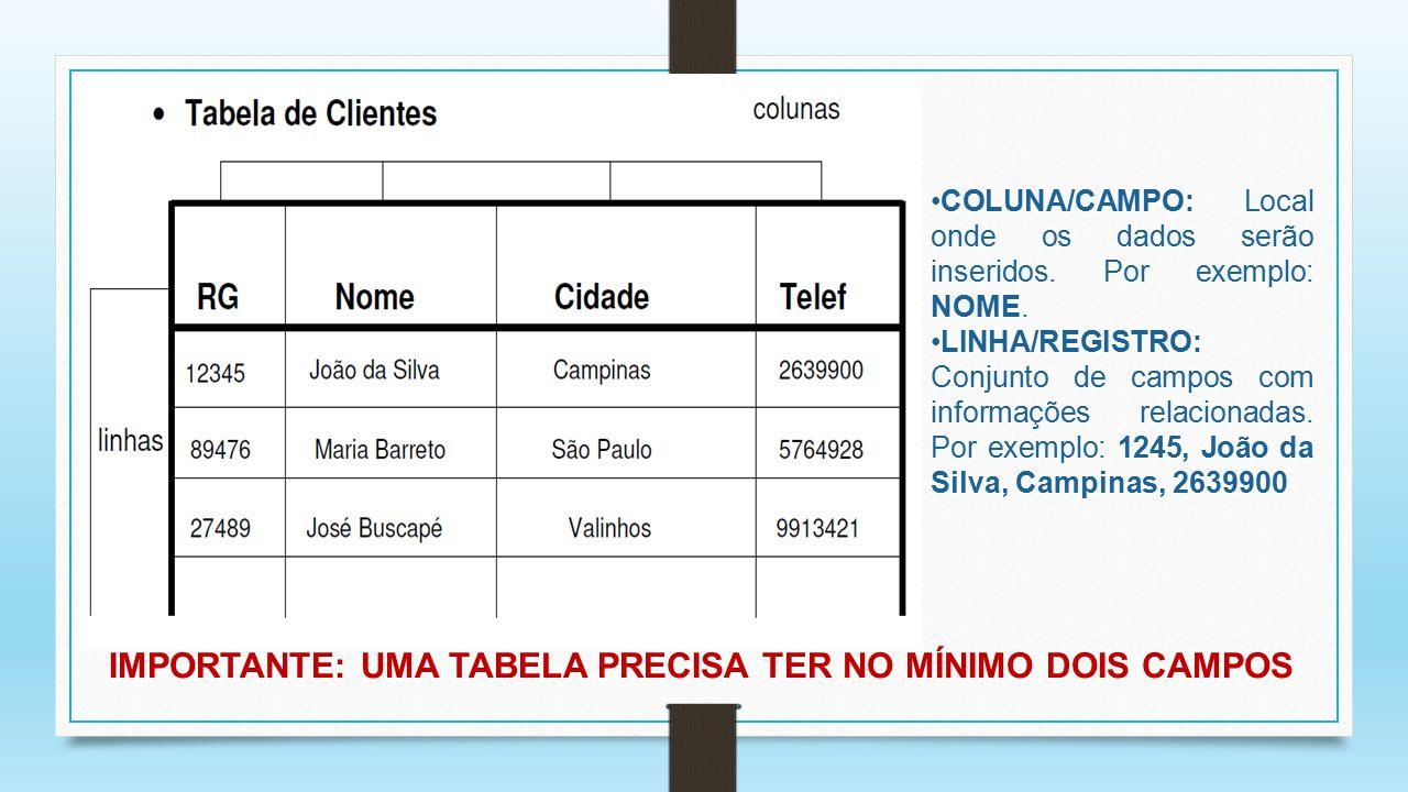 IMPORTANTE: UMA TABELA PRECISA TER NO MÍNIMO DOIS CAMPOS