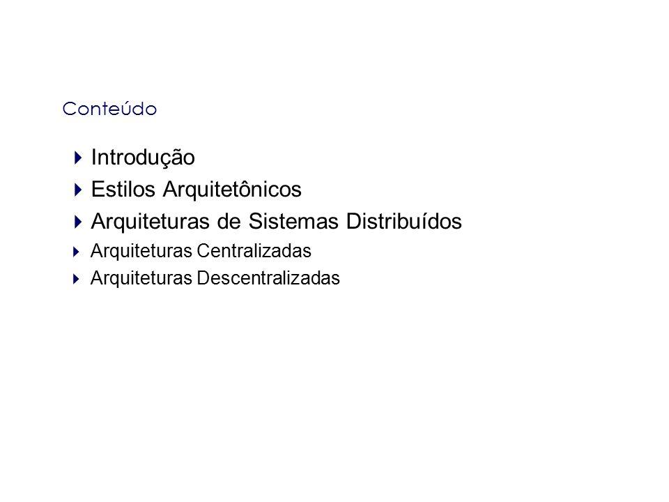 Estilos Arquitetônicos Arquiteturas de Sistemas Distribuídos