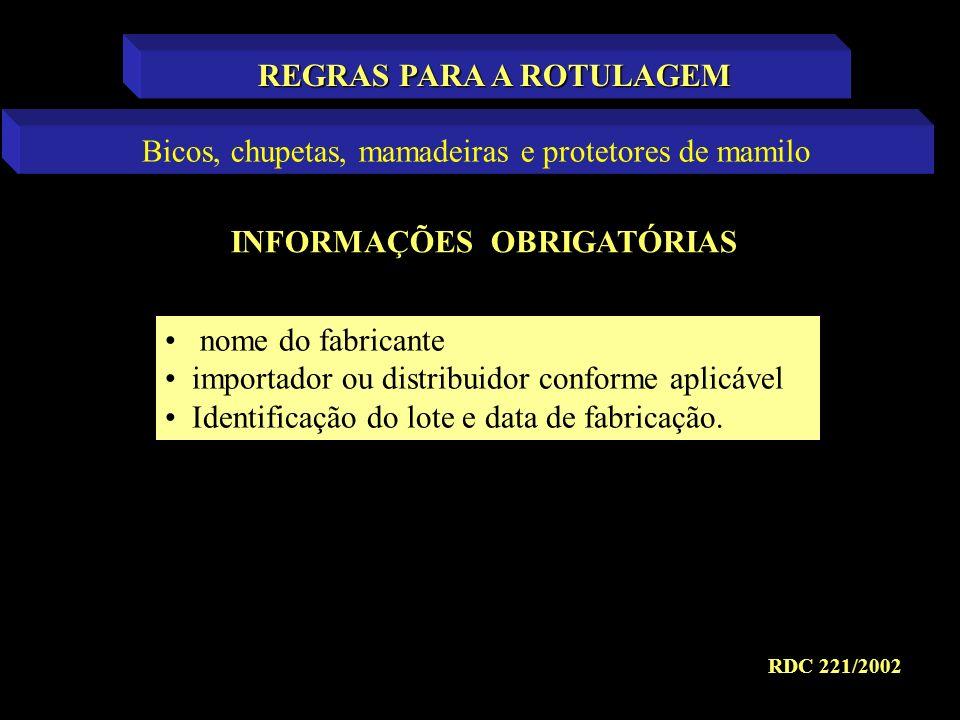 REGRAS PARA A ROTULAGEM INFORMAÇÕES OBRIGATÓRIAS