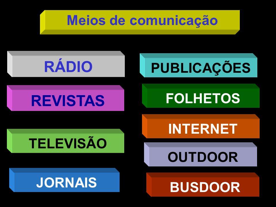 RÁDIO REVISTAS Meios de comunicação PUBLICAÇÕES FOLHETOS INTERNET