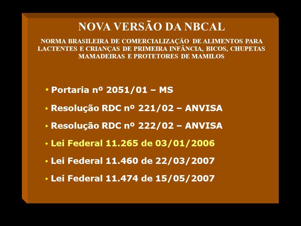 NOVA VERSÃO DA NBCAL Portaria nº 2051/01 – MS