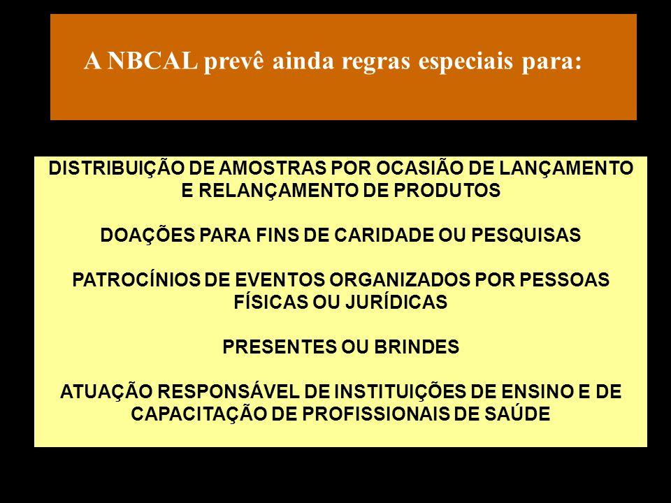 A NBCAL prevê ainda regras especiais para: