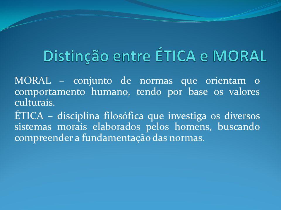 Distinção entre ÉTICA e MORAL