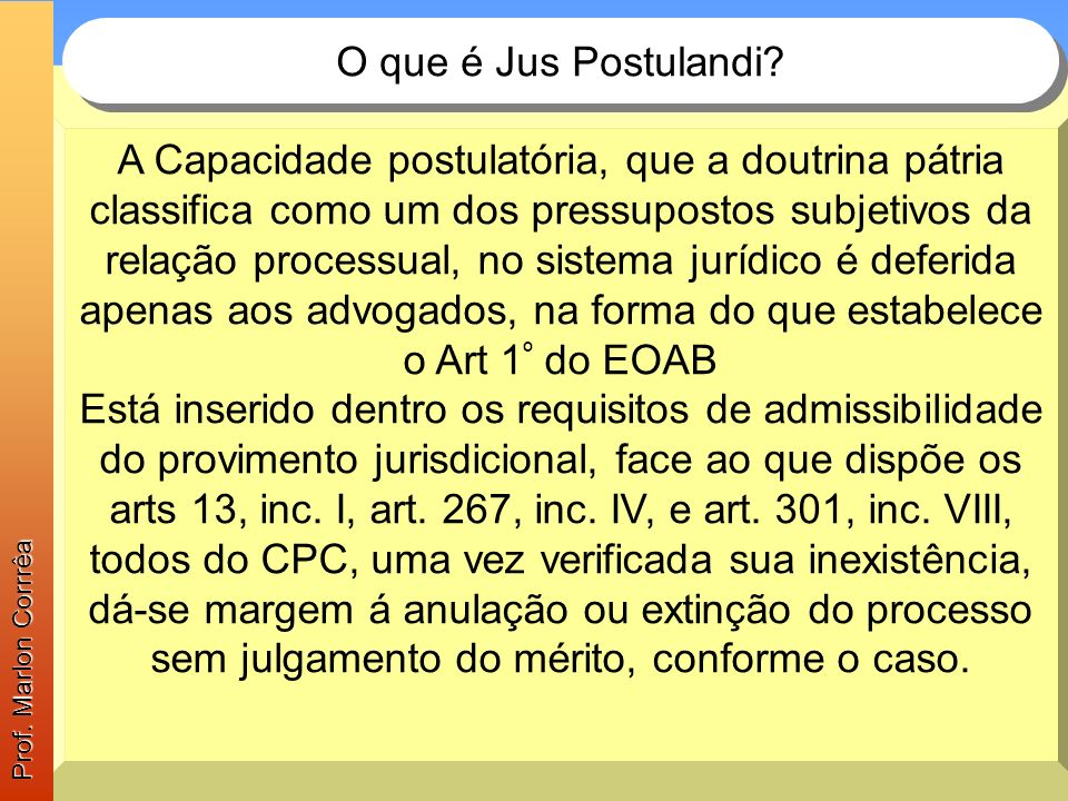 Prof. Marlon Corrrêa O que é Jus Postulandi