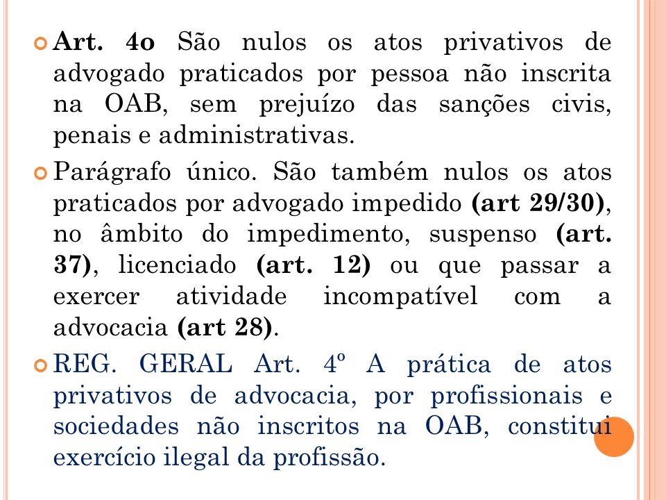 Art. 4o São nulos os atos privativos de advogado praticados por pessoa não inscrita na OAB, sem prejuízo das sanções civis, penais e administrativas.