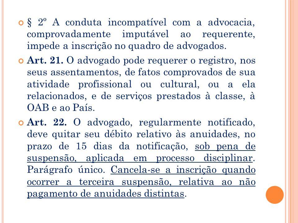 § 2º A conduta incompatível com a advocacia, comprovadamente imputável ao requerente, impede a inscrição no quadro de advogados.