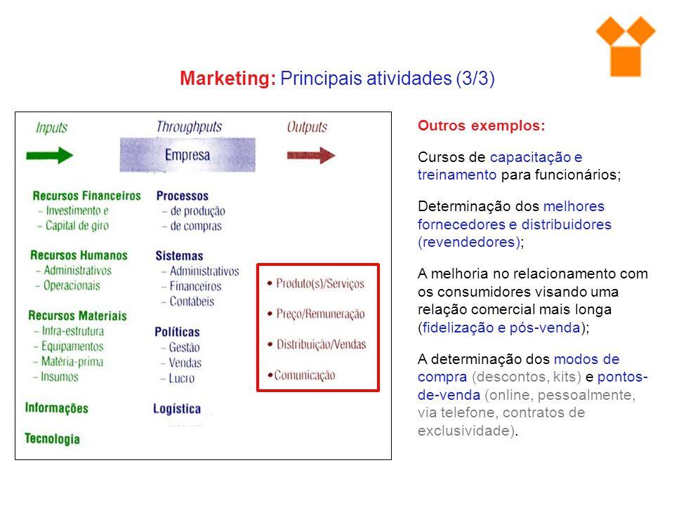 Marketing: Principais atividades (3/3)