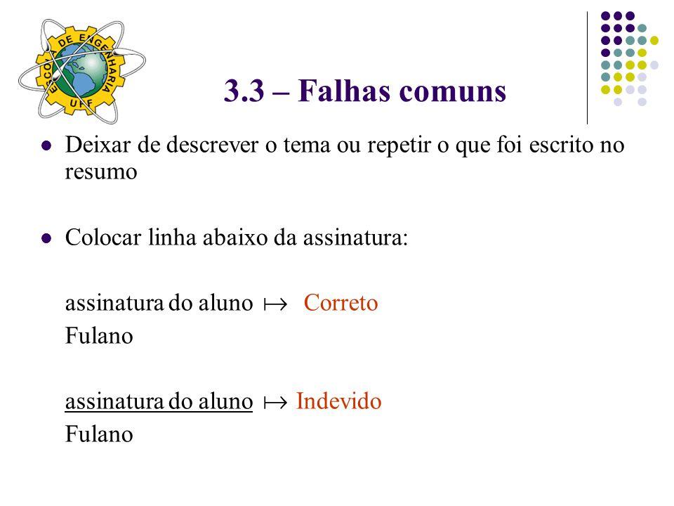 3.3 – Falhas comunsDeixar de descrever o tema ou repetir o que foi escrito no resumo. Colocar linha abaixo da assinatura: