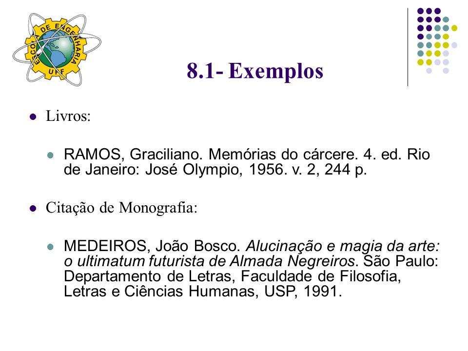 8.1- Exemplos Livros: Citação de Monografia: