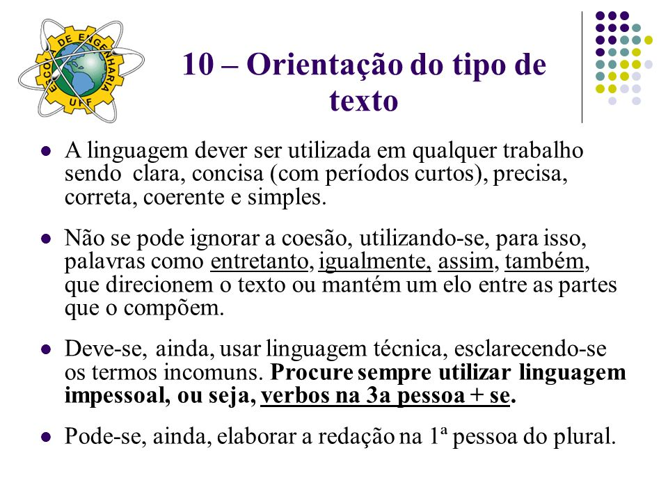 10 – Orientação do tipo de texto