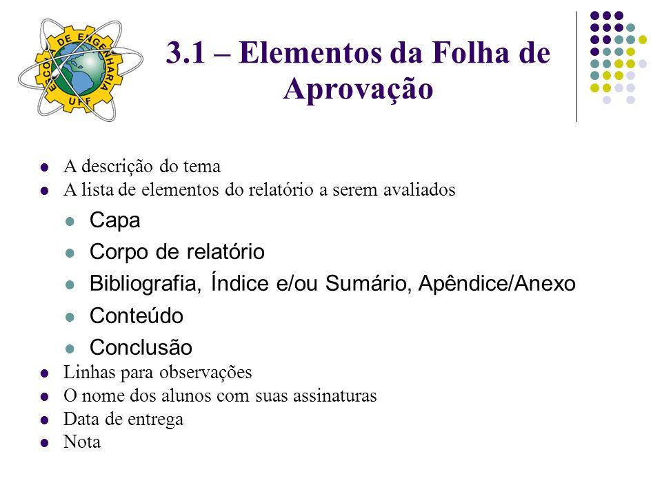 3.1 – Elementos da Folha de Aprovação
