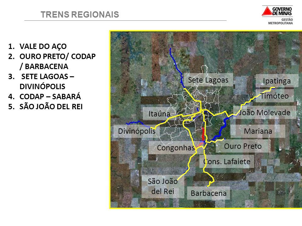 TRENS REGIONAIS VALE DO AÇO. OURO PRETO/ CODAP / BARBACENA. SETE LAGOAS – DIVINÓPOLIS. CODAP – SABARÁ.