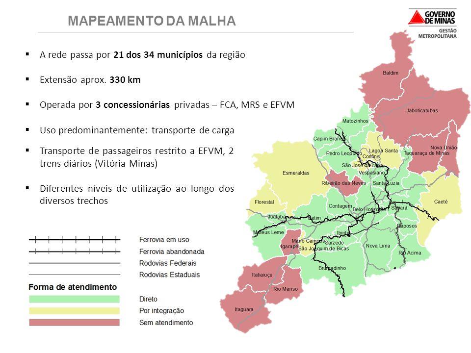 MAPEAMENTO DA MALHA A rede passa por 21 dos 34 municípios da região