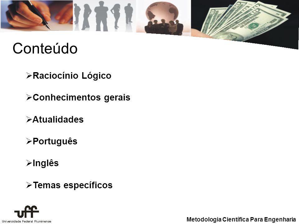 Conteúdo Raciocínio Lógico Conhecimentos gerais Atualidades Português
