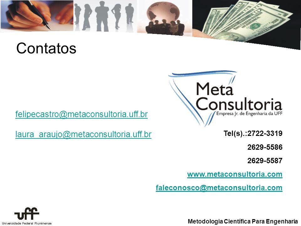 Contatos felipecastro@metaconsultoria.uff.br laura_araujo@metaconsultoria.uff.br. Tel(s).:2722-3319.