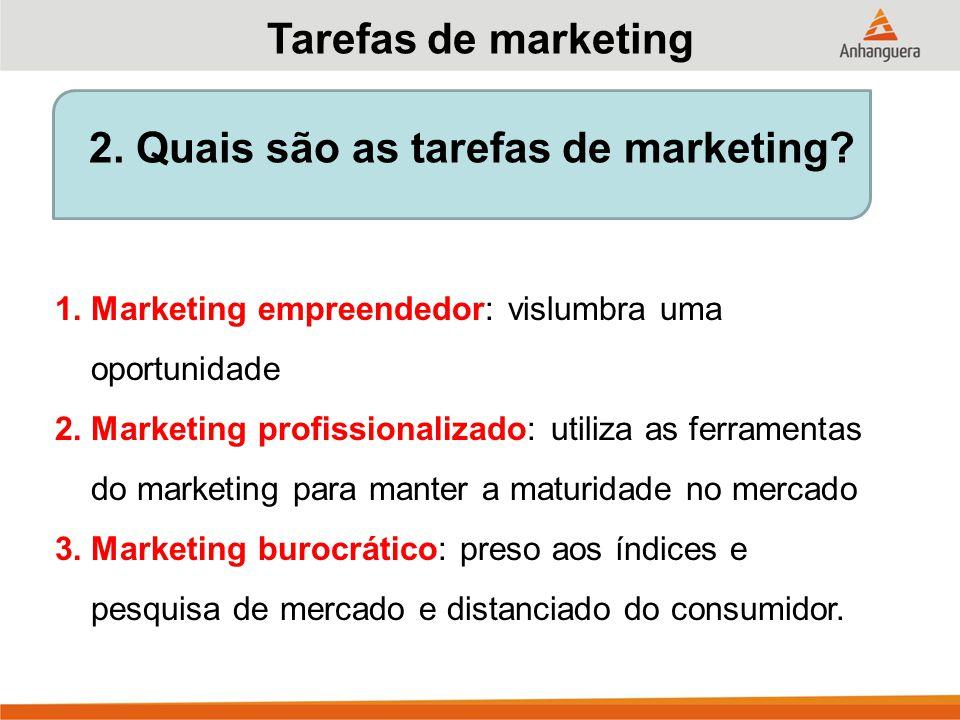 2. Quais são as tarefas de marketing