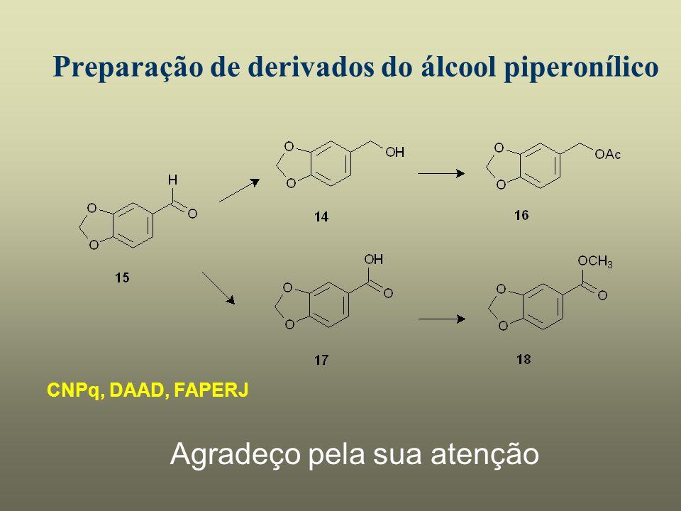 Preparação de derivados do álcool piperonílico