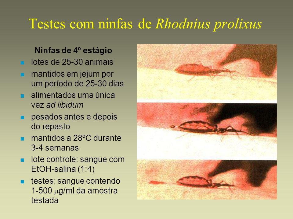 Testes com ninfas de Rhodnius prolixus