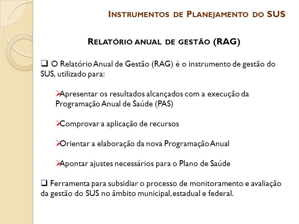 Instrumentos de Planejamento do SUS Relatório anual de gestão (RAG)