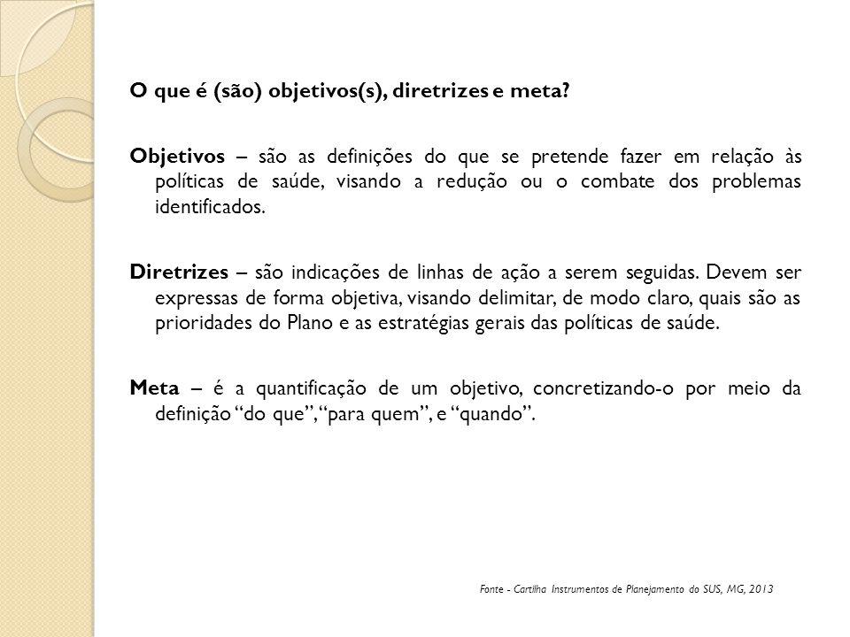 O que é (são) objetivos(s), diretrizes e meta