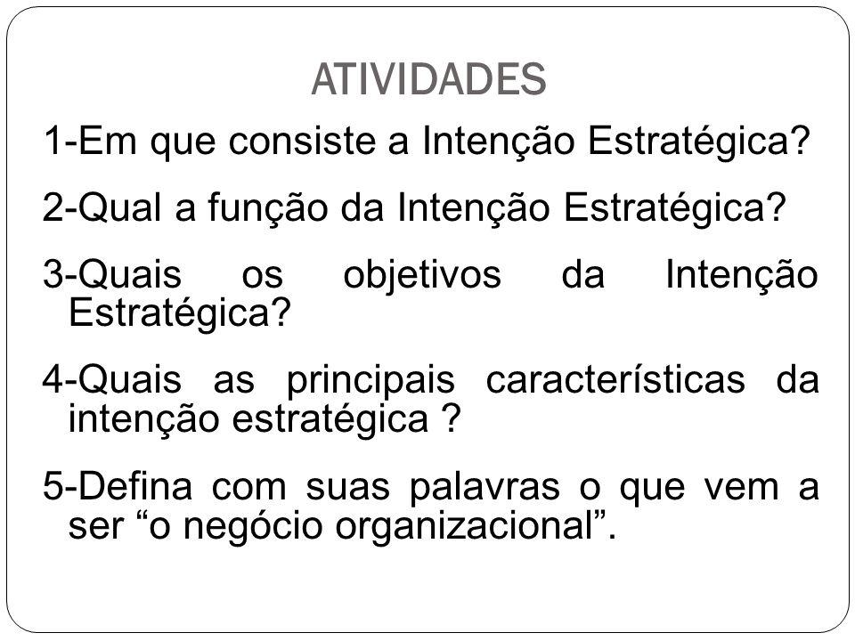 ATIVIDADES 1-Em que consiste a Intenção Estratégica