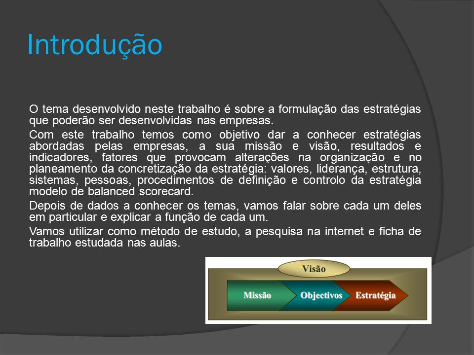 Introdução O tema desenvolvido neste trabalho é sobre a formulação das estratégias que poderão ser desenvolvidas nas empresas.
