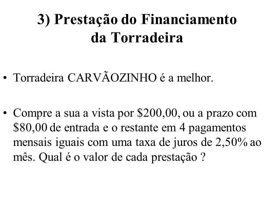 3) Prestação do Financiamento da Torradeira