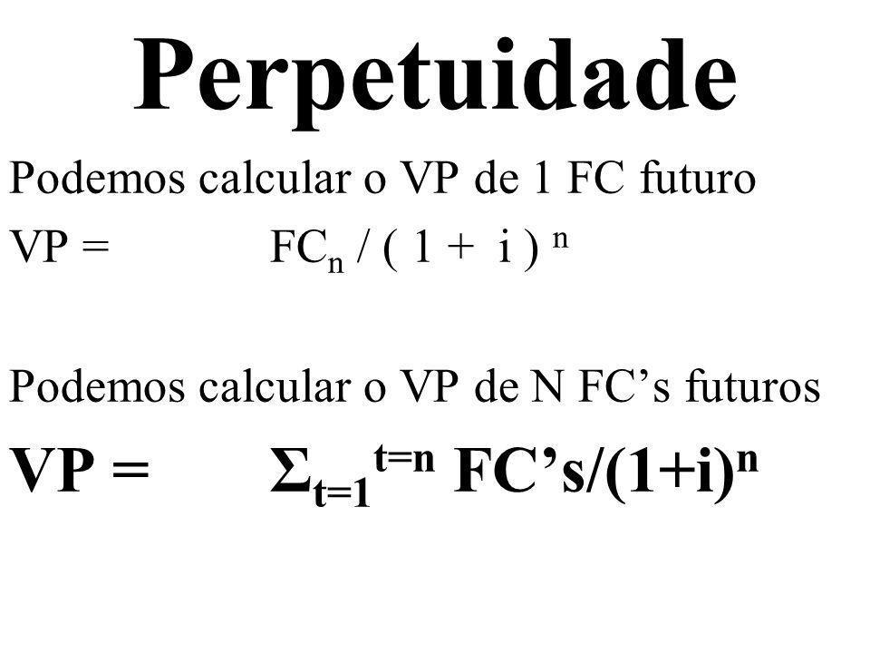 Perpetuidade VP = Σt=1t=n FC's/(1+i)n