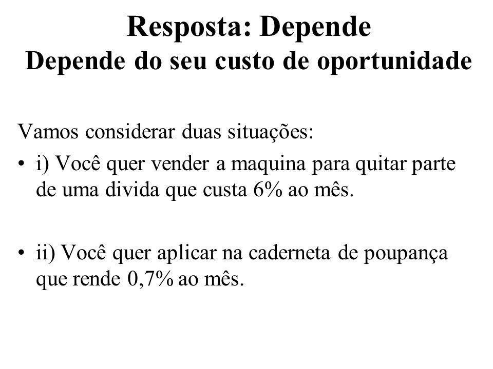 Resposta: Depende Depende do seu custo de oportunidade