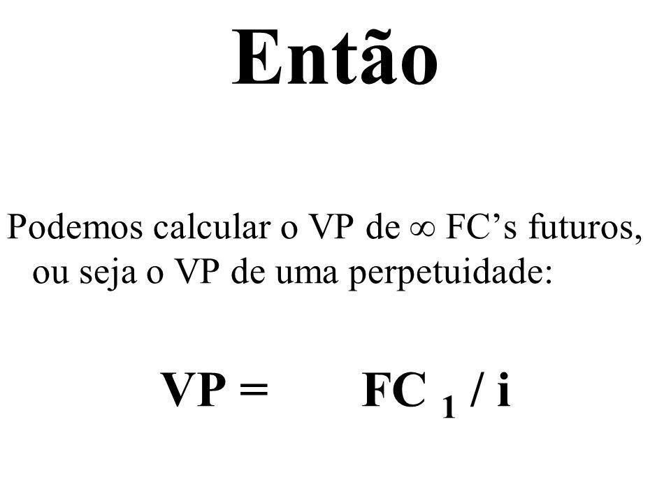 Então Podemos calcular o VP de ∞ FC's futuros, ou seja o VP de uma perpetuidade: VP = FC 1 / i