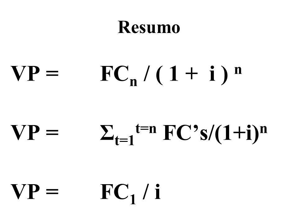 Resumo VP = FCn / ( 1 + i ) n VP = Σt=1t=n FC's/(1+i)n VP = FC1 / i