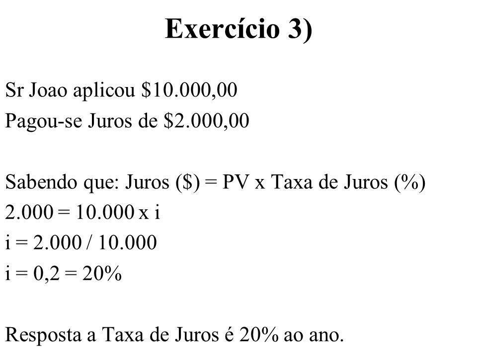 Exercício 3) Sr Joao aplicou $10.000,00 Pagou-se Juros de $2.000,00