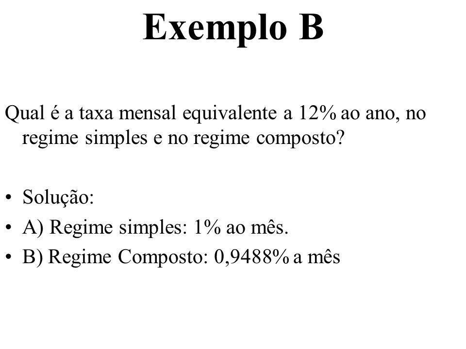 Exemplo B Qual é a taxa mensal equivalente a 12% ao ano, no regime simples e no regime composto Solução: