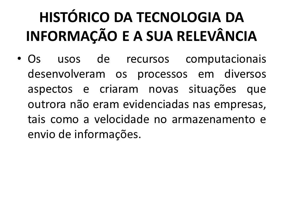 HISTÓRICO DA TECNOLOGIA DA INFORMAÇÃO E A SUA RELEVÂNCIA