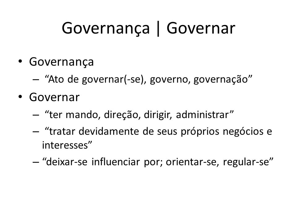 Governança | Governar Governança Governar