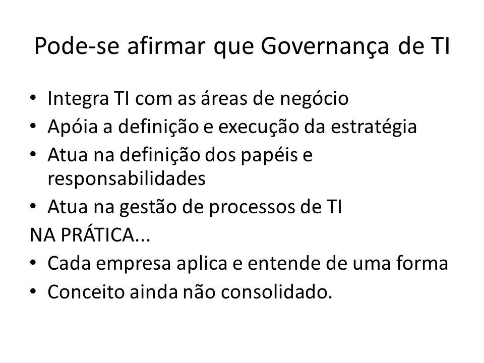 Pode-se afirmar que Governança de TI