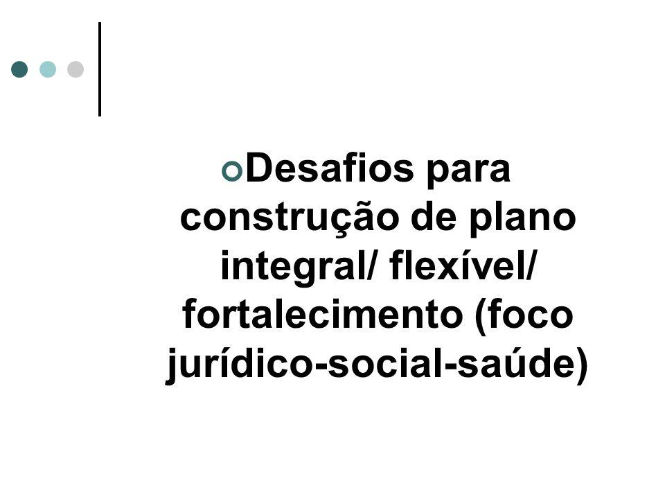 Desafios para construção de plano integral/ flexível/ fortalecimento (foco jurídico-social-saúde)