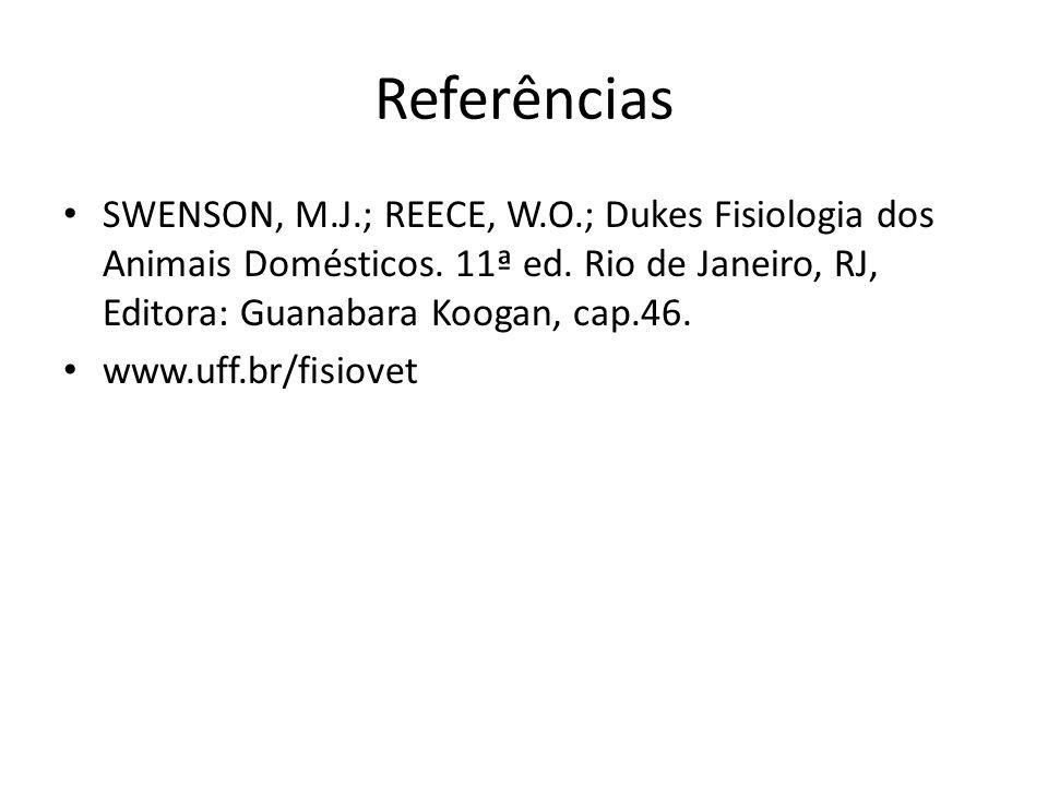 Referências SWENSON, M.J.; REECE, W.O.; Dukes Fisiologia dos Animais Domésticos. 11ª ed. Rio de Janeiro, RJ, Editora: Guanabara Koogan, cap.46.