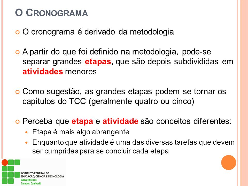 O Cronograma O cronograma é derivado da metodologia