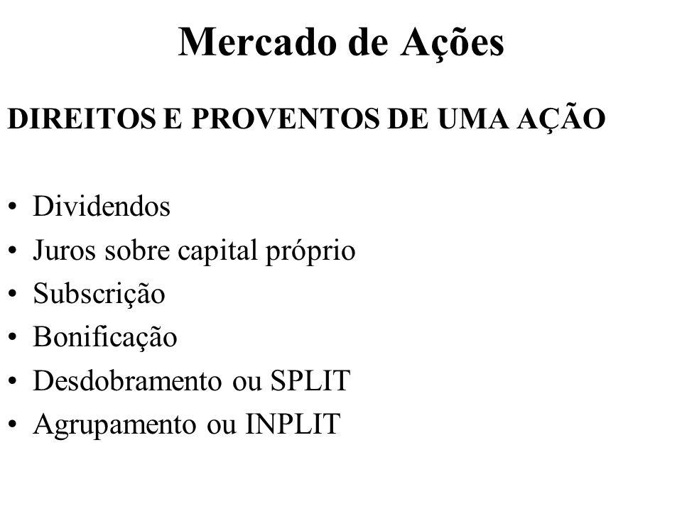 Mercado de Ações DIREITOS E PROVENTOS DE UMA AÇÃO Dividendos