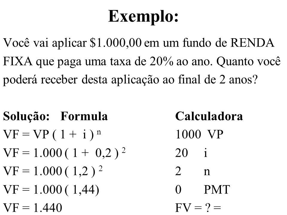Exemplo: Você vai aplicar $1.000,00 em um fundo de RENDA
