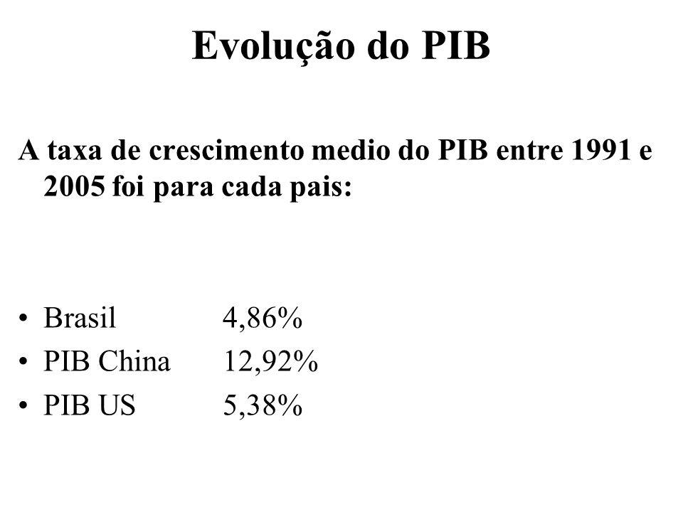 Evolução do PIB A taxa de crescimento medio do PIB entre 1991 e 2005 foi para cada pais: Brasil 4,86%