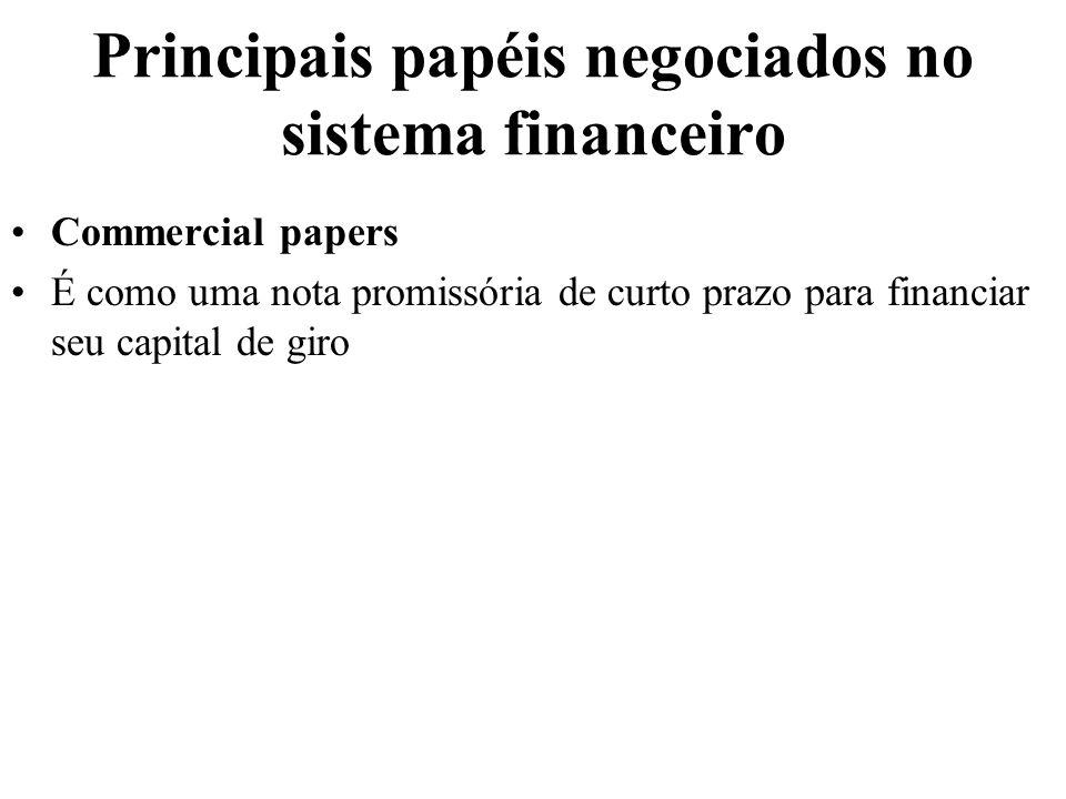 Principais papéis negociados no sistema financeiro
